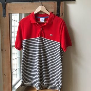Lacoste Red Colorblock and Striped Polo shirt